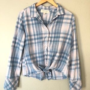 Cloth & Stone Plaid Blue Pink Knot Button Down XS